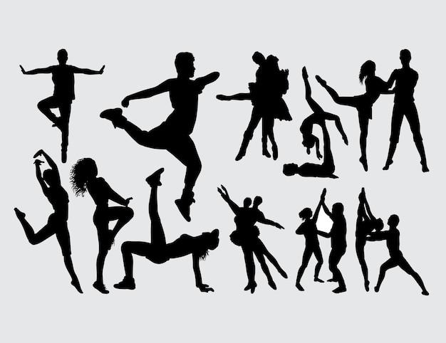 モダンダンスの男と女のジェスチャーシルエット