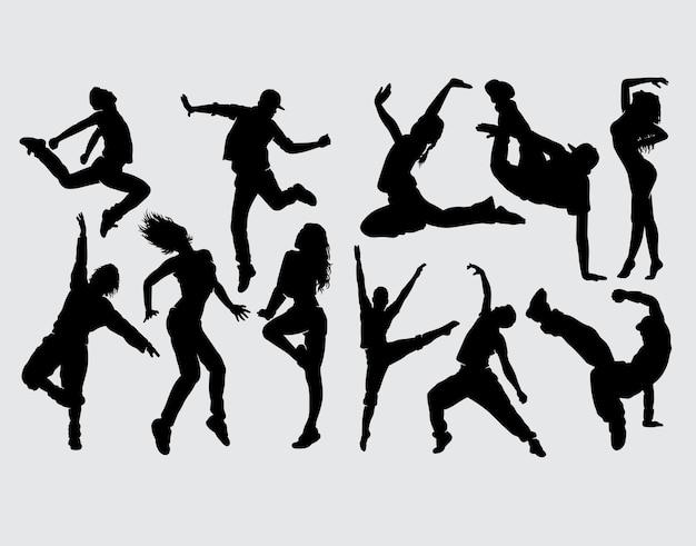 モダンダンスの男性と女性のシルエット