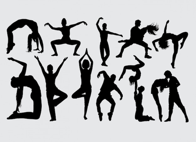 Modern dance male and female action silhouette
