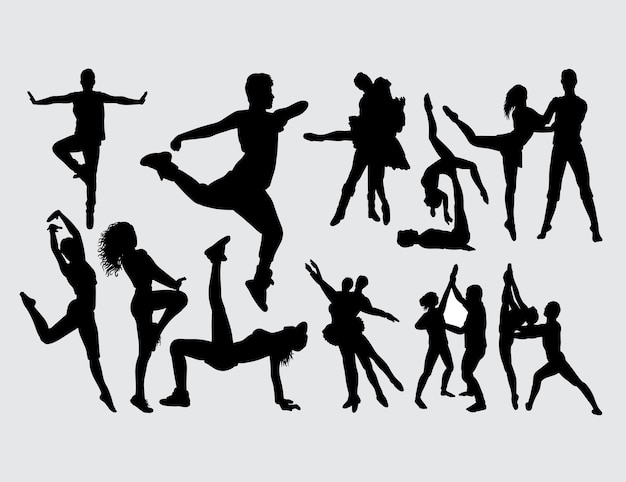 Modern dance male and female gesture silhouette