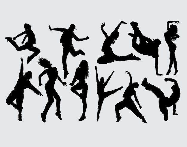 Modern dance male and female silhouette