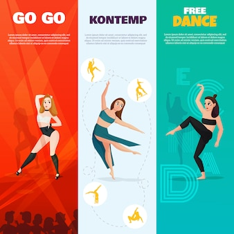 Modern dances vertical banners