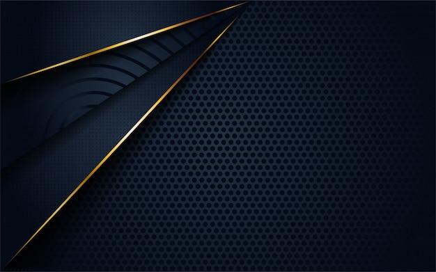 Modern dark 3d abstract background with circular and golden line shape.