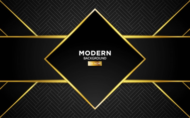 Modern dark abstract future technology vector background with golden light line in geometric texture.