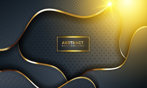 Modern dark background with shine, gold line & glitter