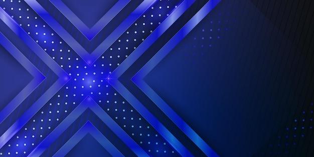 동적 겹침 레이어와 밝은 장식이 있는 현대적인 짙은 파란색 금속 추상 3d 배경