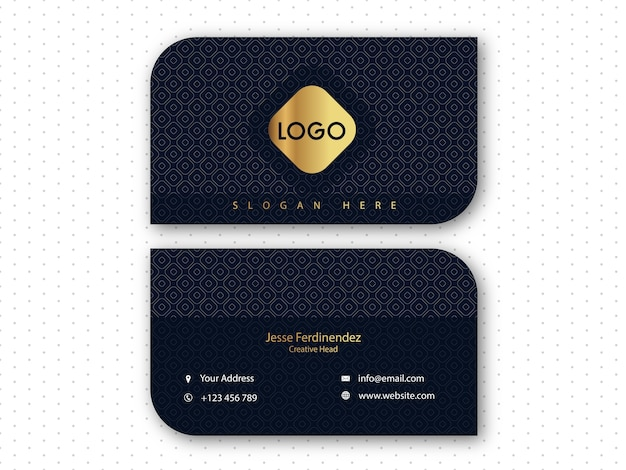 Modern dark blue pattern business card