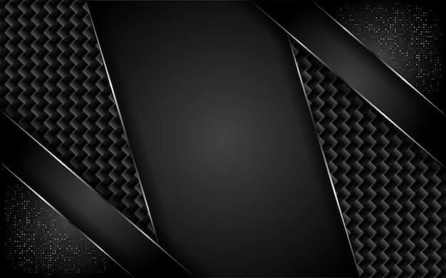 Modern dark carbon background with overlap layer
