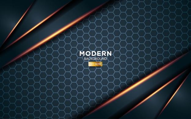 Modern dark green premium vector background with golden light lines in hexagon texture.