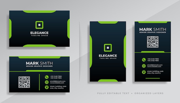 Modern dark and green professional luxurious business card template design