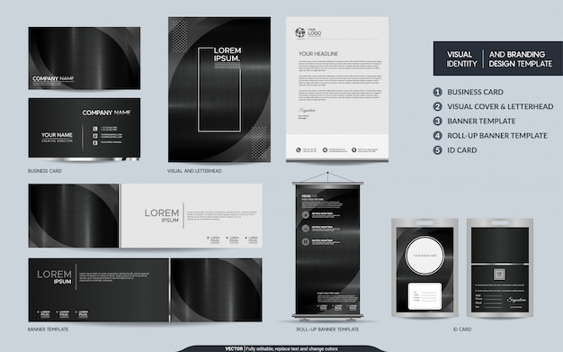 Modern dark metal stationery and visual brand identity with abstract overlap layers background.