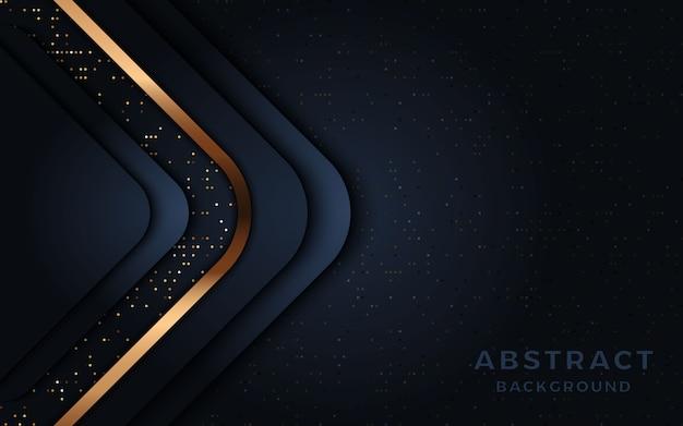 Современный темно-синий фон с золотой линией и блестками.