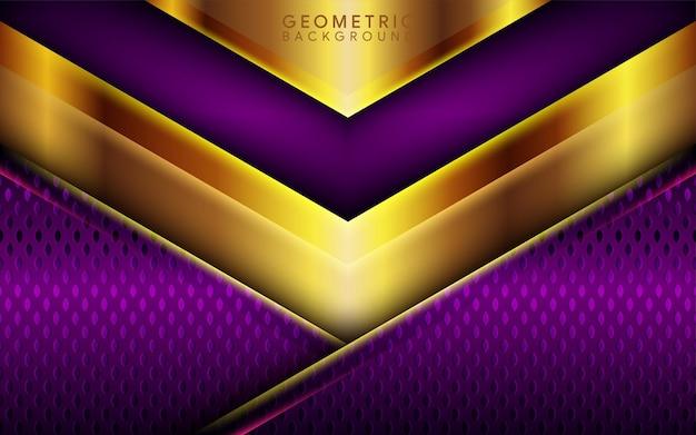현대적인 짙은 자주색 레이어 3d 및 광택 있는 황금색 유행 커버 기하학적 요소