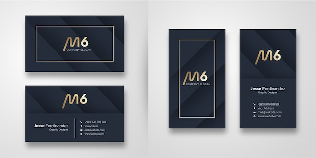 Modern dark  shape business card template