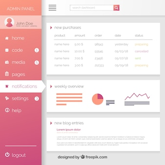 Modern dashboard admin panel with gradient style