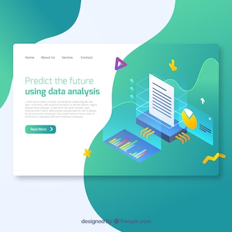 Modern data analysis landing page concept