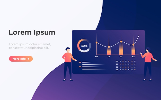 Modern data analysis landing page illustration