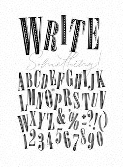 레터링이 있는 현대적인 장식용 알파벳은 흰색 배경에 무언가 그리기를 씁니다.