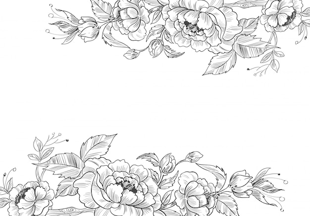 Modern decorative floral background with sketchy style
