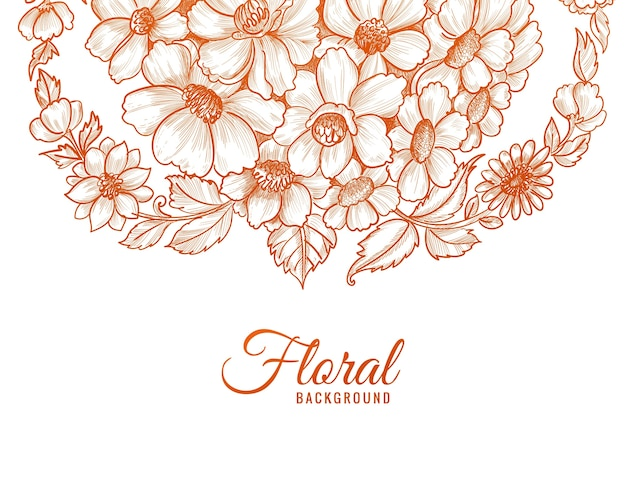 Modern decorative floral with sketchy style