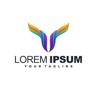Modern deer abstract color logo