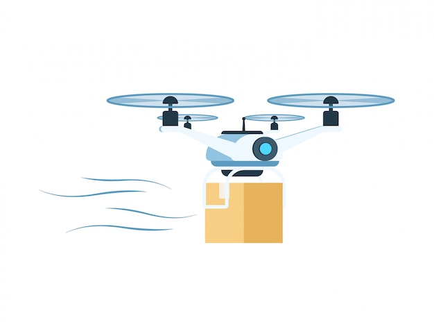 Modern delivery air drone flying with package box