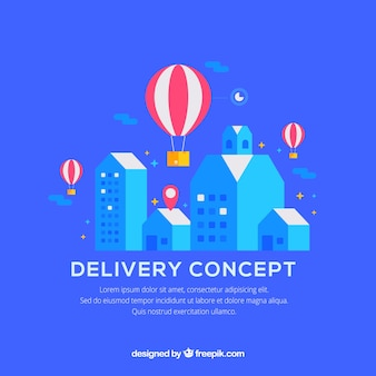 Modern delivery concept with balloons and buildings
