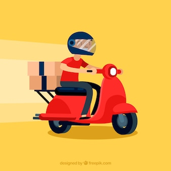 Modern delivery man with helmet