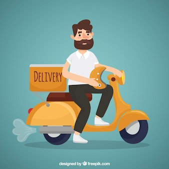 Modern deliveryman with beard and helmet