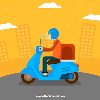 Modern deliveryman with scooter