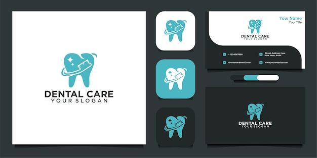 現代の歯科医療のロゴデザインと名刺 Premiumベクター