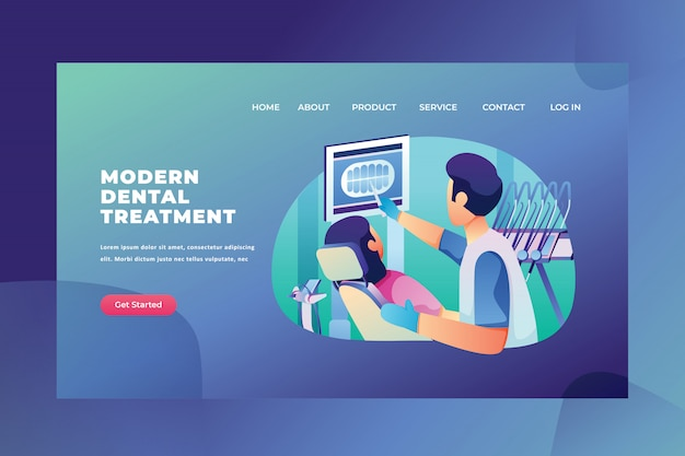 Modern dental treatment of medical and science web page header landing page