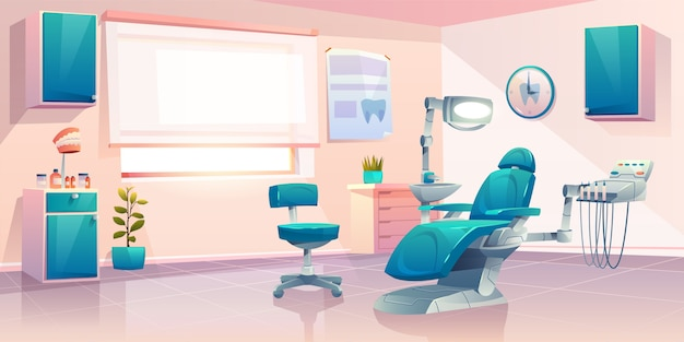 Modern dentist office cartoon illustration