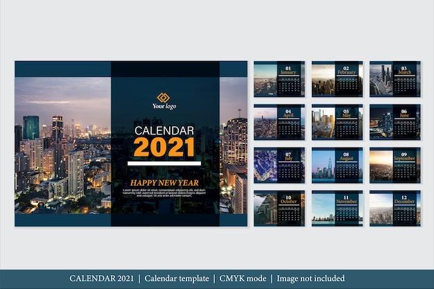 Шаблон календаря 2021 современный дизайн