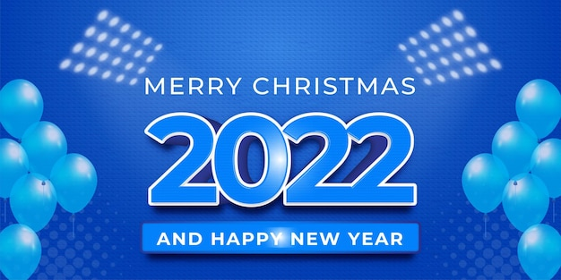 Modern design 2022 editable happy new year on a blue color background