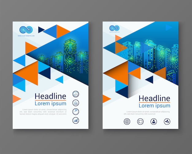 Modern design brochure template with triangle .