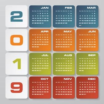 Modern design calendar 2019.