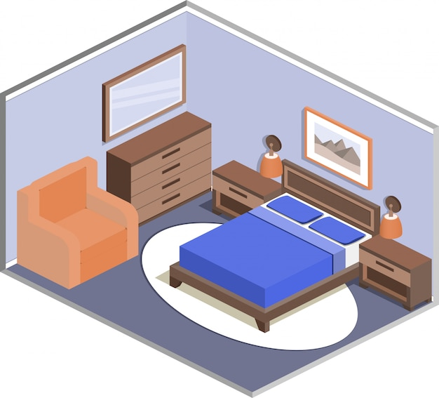 Modern design of cozy bedroom interior in isometric style