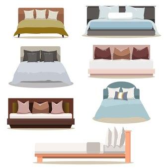 현대적인 디자인의 가구 더블 침대 컬렉션 세트
