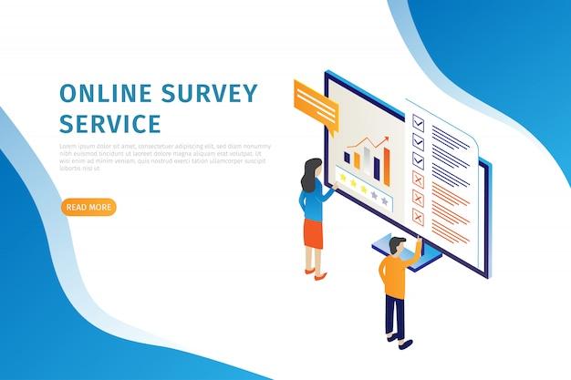 Modern design isometric concept of online landing page surveys