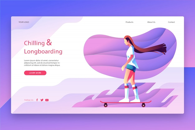 Modern design of landing page template
