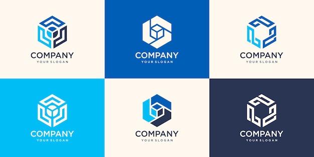 名刺テンプレートとモダンなデザインのロゴ要素。アイデンティティとロゴタイプに最適