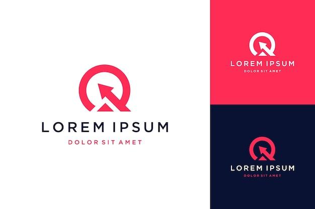 モダンなデザインのロゴまたはモノグラムまたは矢印付きの頭文字q