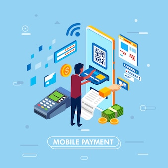 Modern design of mobile payment concept with smartphone, illustrated as man inserting credit card to smartphone