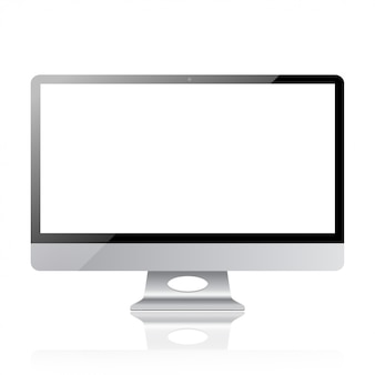 Modern design of realistic monitor screen computer display mockup with trendy frame display in silver metal style  illustration