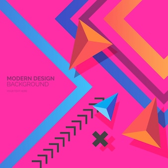 Modern design shapes with colorful background