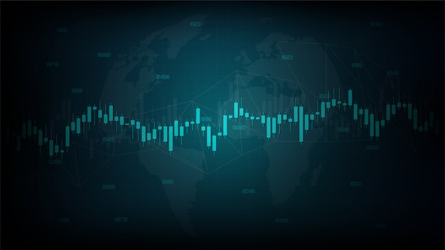 Modern design of stick candle graph of stock market investment trading on a dark background.
