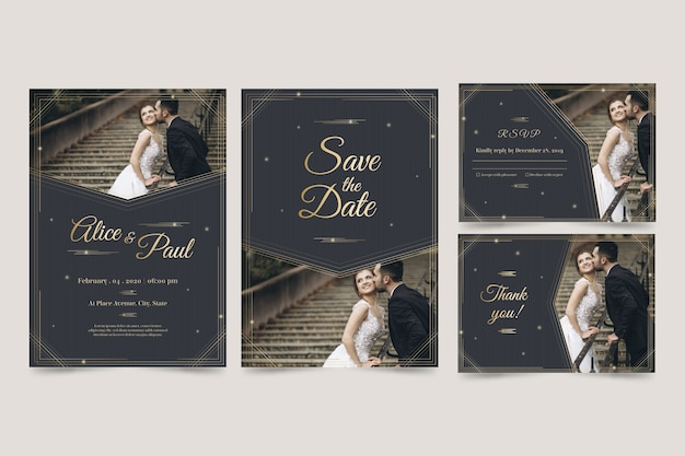 Modern design template wedding invitation