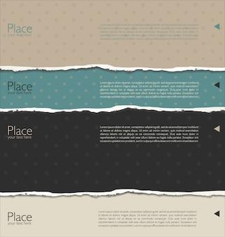 裂かれた紙を使った現代デザインのテンプレート