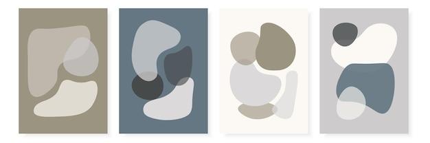 Шаблоны современного дизайна с абстрактными формами в синих тонах